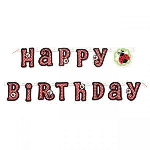 Lively Ladybug Happy Birthday Banner