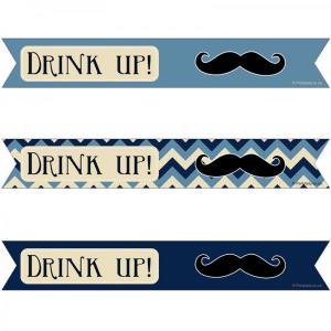 Little Man Moustache Straw Flags (25)