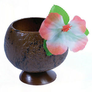 Luau Coconut Plastic Cup with hibiscus flower