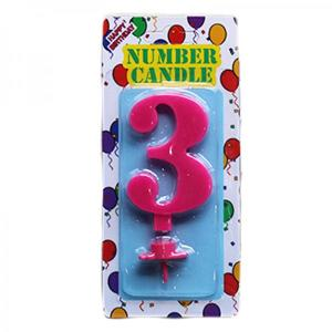Pink Number Candle 3