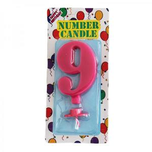 Pink Number Candle 9