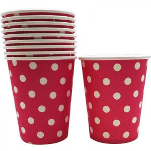 Magenta Dotted Paper Cups (10)