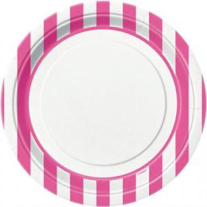 Magenta Striped Paper Plates (8)