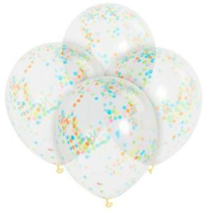 Clear Balloons with Multicolour Confetti (6)