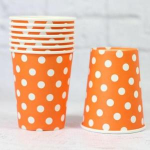 Orange Dotted Paper Cups (10))