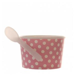 Light Pink Dotted Ice Cream Cups (10)
