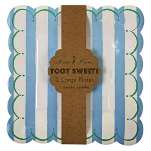 Toot Sweet Large Blue Plates (12)