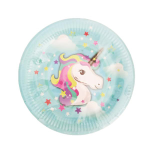 Magical Unicorn Blue Plates Large (10)