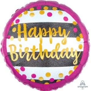 Happy Birthday Glamour Foil Balloon 17 Inch