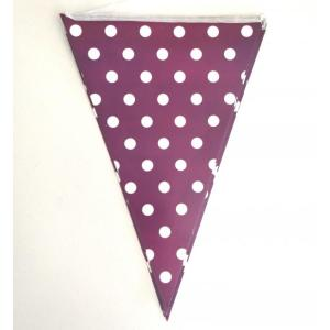Violet Dotted Paper Flag Bunting