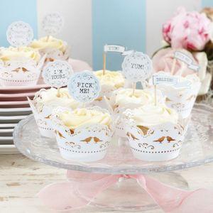 Vintage Lace Cupcake Wraps (10)