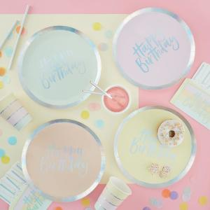 Pastel Party Happy Birthday Paper Plates (8)