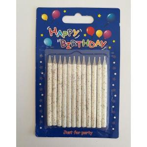 White Glitter Birthday Candles (12)