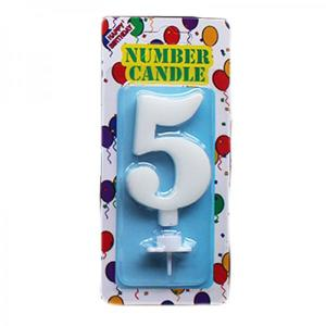 White Number Candle 5