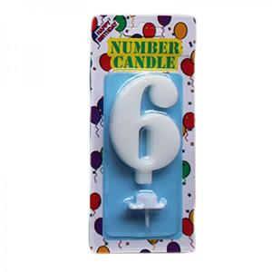 White Number Candle 6