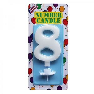 White Number Candle 8