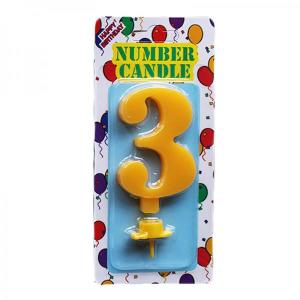 Yellow Number Candle 3