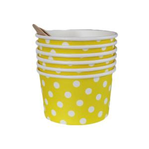 Yellow Dotted Ice Cream Cups (6)