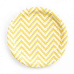 Yellow Chevron Paper Plates (10)
