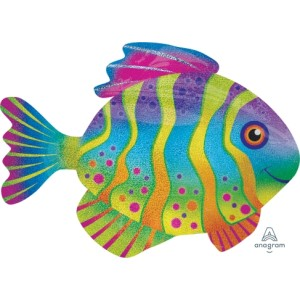 Colourful Holographic Fish Super Shape Foil Balloon