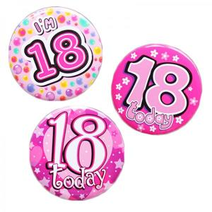 Happy 18th Birthday Badge Pink Design