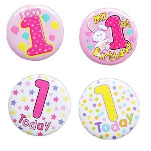 Happy 1st Birthday Badge Girl Design
