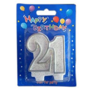 """Silver """"21"""" Candle"""