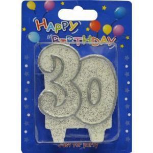 """Silver """"30"""" Candle"""