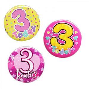 Happy 3rd Birthday Badge Girl Design