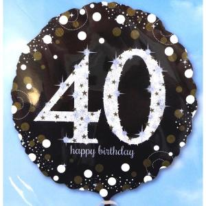 Sparkling Happy 40th Birthday Balloon