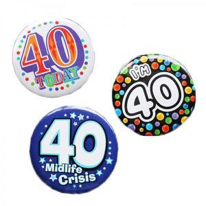 Happy 40th Birthday Badge Blue Design