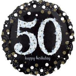 Sparkling Happy 50th Birthday Balloon
