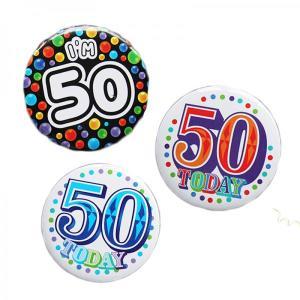 Happy 50th Birthday Badge Blue Design