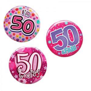 Happy 50th Birthday Badge Pink Design