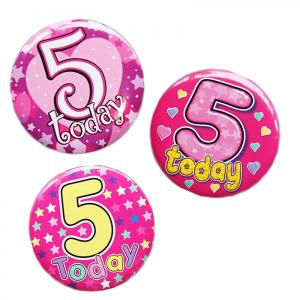 Happy 5th Birthday Badge Girl Design