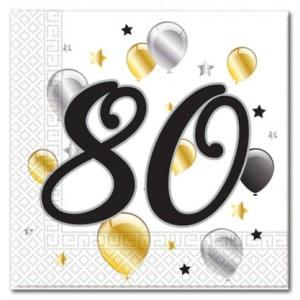 Age 80 Birthday Balloon Napkins (20)