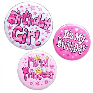 Happy Birthday Badge Girl Design