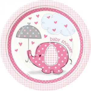 Pink Umbrellaphants Lunch Plates (8)