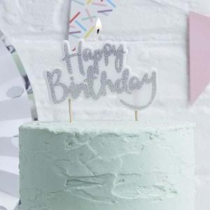 Pick & Mix Happy Birthday Candle Silver