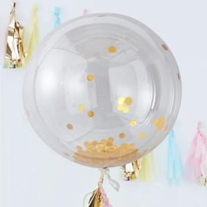 Pick & Mix Gold Confetti Orb Balloons (3)