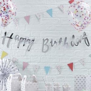 Pick & Mix Silver Happy Birthday Foiled Backdrop