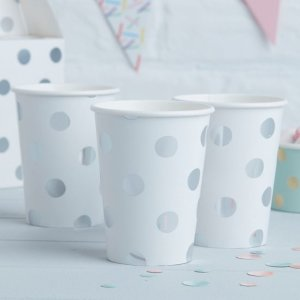 Pick & Mix Silver Polka Dot Paper Cups (8)