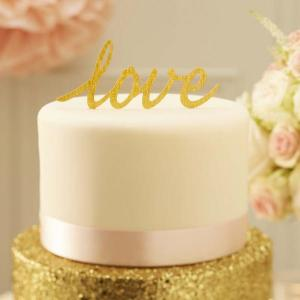 Pastel Perfection Love Cake Topper Gold