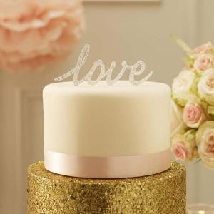 Pastel Perfection Love Cake Topper Silver