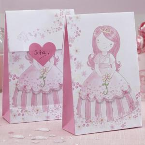 Princess Party Pink Party Bags & Heart Stickers (12)