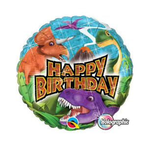 Round Holographic Birthday Dinosaur Balloon