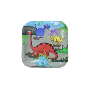 Dinosaur Party Square Plates Small (10)