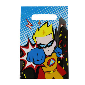 Little POW Superhero Plastic Party Bags (6)
