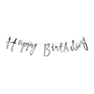 Happy Birthday Silver Foiled Backdrop