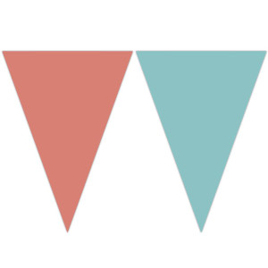 Plastic Flag Bunting Coral and Teal Shades